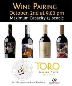 Wine Tasting-Pairing-Toro Muelle Uno